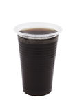 Plastic cup with coffee isolated Royalty Free Stock Photography