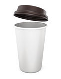 Plastic cup of coffee with an open lid on a white background. 3d Royalty Free Stock Photography