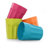 Plastic cup. Colorful plastic cup in white background Royalty Free Stock Photo