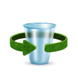 Plastic Cup. Concept with green arrows from the grass. Recycling concept. Isolation on white Stock Photos