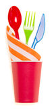 Plastic cup and cutlery Stock Image