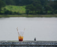 Plastic cup of drink at the park. Plastic cup of drink with lake view background at the park in Dalat, Vietnam stock photo