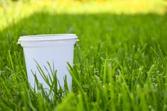 Plastic cup in the grass. The concept of environmental pollution, the rejection of plastic products, the use of packaging from. Natural materials royalty free stock image