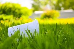 Plastic cup in the grass. The concept of environmental pollution, the rejection of plastic products, the use of packaging from. Natural materials stock photography