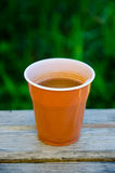 Plastic cup of instant coffee Royalty Free Stock Photo