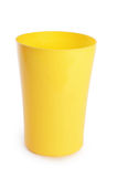 Plastic cup isolated on white background. Plastic yellow cups isolated on white background stock photography