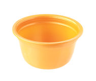 Plastic Cup no cover orange color isolated on white background Stock Images