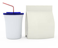 Plastic cup and paper bag Stock Photo