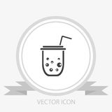 Plastic cup or paper cup vector icon Stock Photo