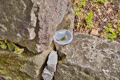 Plastic cup between rocks. Someone just left this plastic cup on the ground, instead of toss it in the garbage can royalty free stock photography