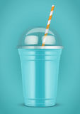 Plastic cup with smoothie and tube. Stock Images