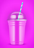 Plastic cup with smoothie and tube. Royalty Free Stock Image