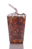 Plastic Cup with Soda. Clear Plastic Cup with Soda Ice and Straw isolated on white with reflection vertical format stock images