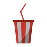 Plastic cup soda with straw drink american football Royalty Free Stock Photography