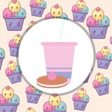 Plastic cup with straw and cookie. Vector illustration design stock illustration