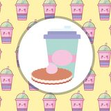 Plastic cup with straw and cookie. Vector illustration design vector illustration