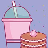 Plastic cup with straw and cookie. Vector illustration design royalty free illustration