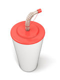 Plastic cup with a straw Stock Photography