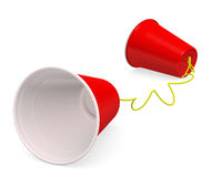 Plastic Cup Telephone. Tin can telephone made up of two red plastic cups on white background with clipping path. 3D render Royalty Free Stock Images
