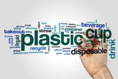 Plastic cup word cloud royalty free stock photography