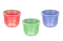 Plastic cups. Detail of rbg colors plastic cups Stock Image