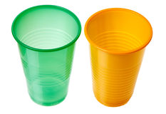 Plastic cups. Isolated on a white background Stock Photo