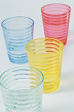 Plastic cups. Many color transparent Royalty Free Stock Photo