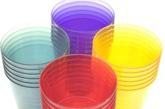 Plastic cups close up Royalty Free Stock Image