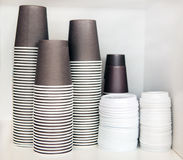 Plastic cups for coffee and tea Stock Image