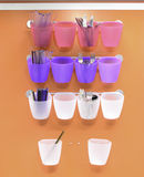 Plastic Cups and Dinner Utensils Royalty Free Stock Image