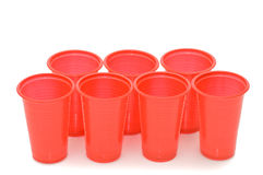 Plastic cups isolated on the white Stock Photo