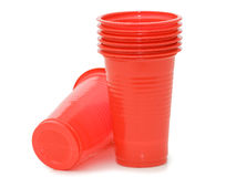 Plastic cups isolated on the white Stock Images