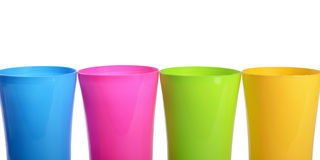 Plastic cups isolated on white background Stock Photos