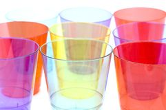 Plastic cups macro Royalty Free Stock Images