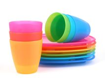Plastic cups and plates. Stack of plastic cups and plates - perfect for picnic Royalty Free Stock Photo