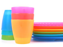 Plastic cups and plates Royalty Free Stock Photography