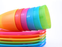 Plastic cups and plates Royalty Free Stock Images