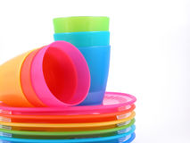 Plastic cups and plates. Stack of plastic cups and plates - perfect for picnic Royalty Free Stock Photos