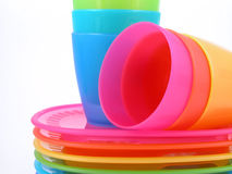 Plastic cups and plates. Stack of plastic cups and plates - perfect for picnic Stock Image