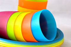 Plastic cups and plates Stock Photography