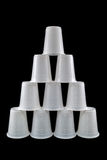 Plastic cups pyramid Royalty Free Stock Photography