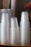 Plastic cups, single and pile stack.  Stock Images