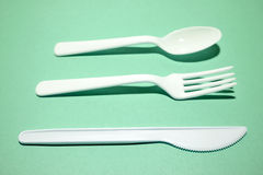 Plastic cutlery Royalty Free Stock Photos