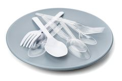 Plastic cutlery Stock Photo