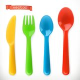 Plastic cutlery. Kids food. 3d vector icon set. Plastic cutlery. Kids food. 3d realistic vector icon set Stock Photos