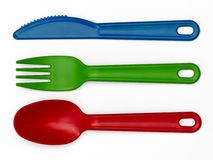 Plastic Cutlery 01 - Multi-Colour Royalty Free Stock Images