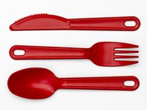 Plastic Cutlery 02 - Red Stock Photo