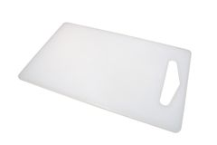 Plastic Cutting Board. White plastic cutting board at an angle, with clipping path Stock Photography