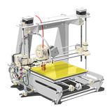Plastic 3D printer. Vector illustration of a 3D printer on white background. Solid fill only, no gradients Stock Photos