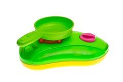 Plastic de potten kokend stuk speelgoed van het kind Stock Afbeeldingen